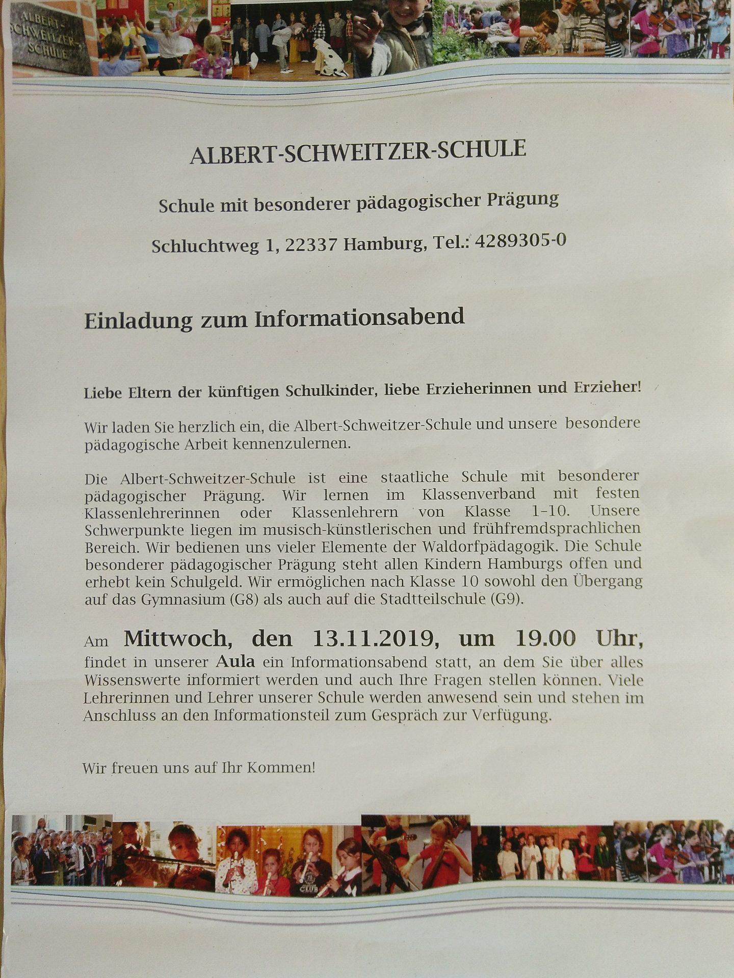 13.11. Informationsabend (Schule mit bes. päd. Prägung)